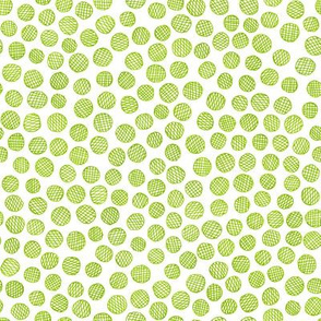 hatched pen and ink polkadots - lime green