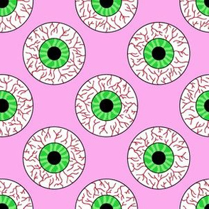 Psychobilly Eyeballs in Retro Pink