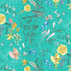 Let's Go Pick Wildflowers (teal) SML