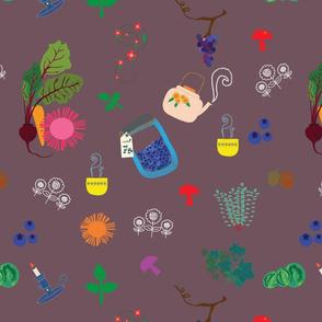 Mushroom Tea Green Pattern-01