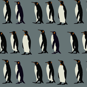 Penguin march in ice blue