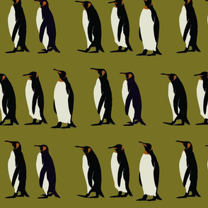 Penguin march in olive green