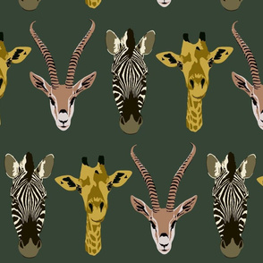 Trio of friends, zebra, giraffe, gazelle in forest green