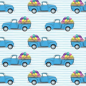 vintage truck with Easter eggs - Easter Fabric - blue stripes LAD19