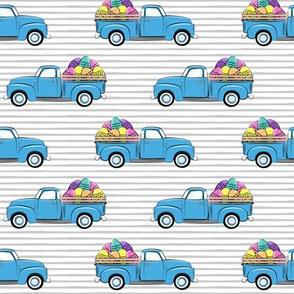 vintage truck with Easter eggs - Easter Fabric - grey stripes LAD19