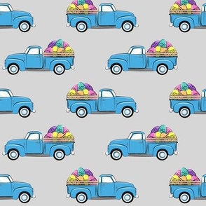 vintage truck with Easter eggs - Easter Fabric  - light grey LAD19