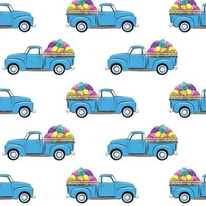 vintage truck with Easter eggs - Easter Fabric  LAD19