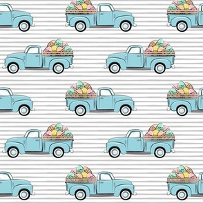 pastel vintage trucks with Easter eggs - Easter Fabric - grey stripes LAD19