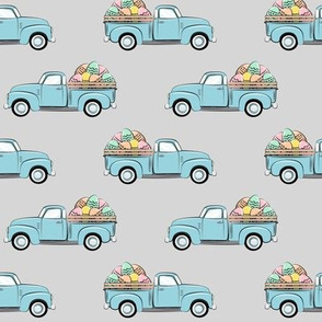 pastel vintage trucks with Easter eggs - Easter Fabric - grey LAD19