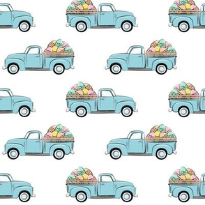 pastel vintage trucks with Easter eggs - Easter Fabric LAD19