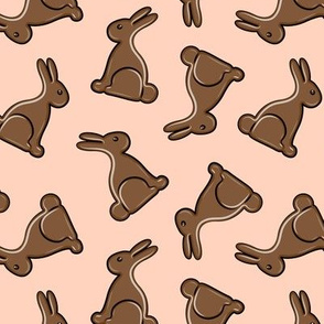chocolate bunny on peach - easter candy - LAD19chocolate bunny-08