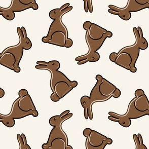chocolate bunny on cream - easter candy - LAD19