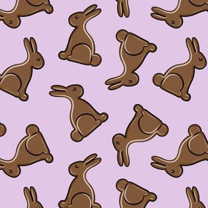 chocolate bunny on purple - easter candy - LAD19