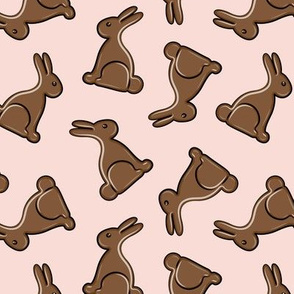 chocolate bunny on pink - easter candy - LAD19