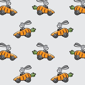 Easter Bunny Racer - Carrot Car - Grey LAD19