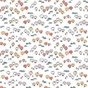 Sweet Floral Print  Coral Small Scale