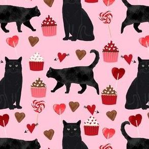 black cat valentines day fabric - cat lady valentines, cat lady fabric, cat love fabric, cupcakes chocolates fabric -  pink