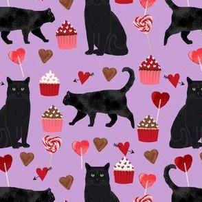 black cat valentines day fabric - cat lady valentines, cat lady fabric, cat love fabric, cupcakes chocolates fabric - purple