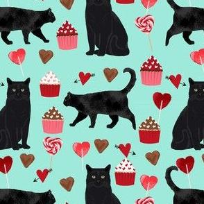 black cat valentines day fabric - cat lady valentines, cat lady fabric, cat love fabric, cupcakes chocolates fabric - mint