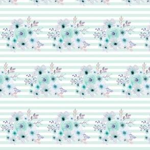 Mint Watercolor Floral Stripe, Ginger Lous