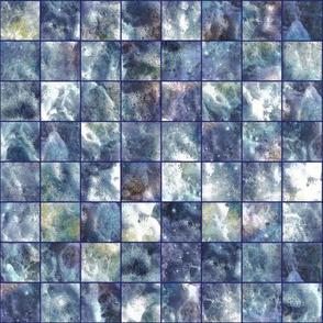 mosaic sea foam checherboard tiles steel blue mauve