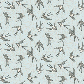 Gray Swallows on Blue