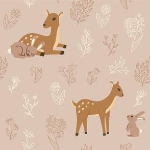 Deer and rabbit pattern