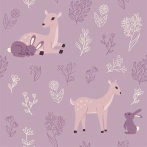 Deer and rabbit pattern - violet version