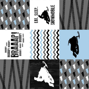 Eat Sleep Snowmobile//Baby Blue - Wholecloth Cheater Quilt - Rotated