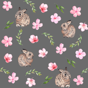 watercolor baby bunny fabric - easter bunny fabric, watercolor easter fabric, spring floral fabric, watercolor cherry blossoms - charcoal