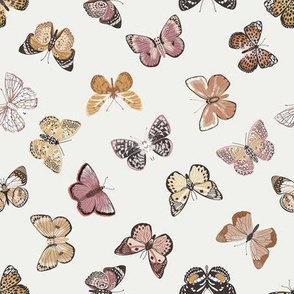 SMALL - butterflies fabric - baby bedding, baby girl fabric, baby fabric, nursery fabric, butterflies fabric, muted colors fabric, earth toned fabric -  off white