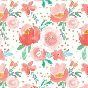 Dreamy Coral Watercolor Florals with Gold Confetti