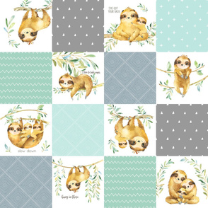 Sloth Cheater Quilt – Patchwork Blanket Baby Boy Bedding, Soft Gray Blue Green, Design MM