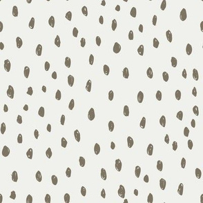 fossil dots on snow fabric - sfx1110 - dots, nursery, baby, muted, earthy, earth tones, simple, minimal, gender neutral fabric