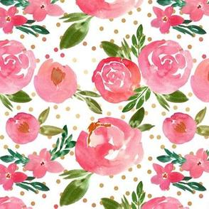 Summer Jungle Pink Watercolor Florals  - Gold Dots