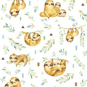 Sloths Hangin On – Children's Bedding Baby Boy Nursery, SMALL Scale