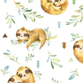 Sloths Hangin On – Children's Bedding Baby Boy Nursery, LARGE Scale