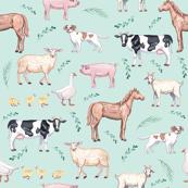 farm animals fabric - watercolor fabric, nursery baby fabric, baby fabric, watercolor animals fabric