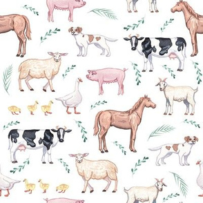 farm animals fabric - watercolor fabric, nursery baby fabric, baby fabric, watercolor animals fabric - white