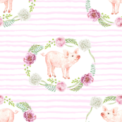 pig watercolor frame - floral frame fabric, pink stripes