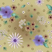 Vintage Taupe/Purple Floral