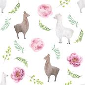 floral llamas watercolor fabric -  watercolor llama fabric, nursery fabric, llama nursery, baby girl nursery fabric - white
