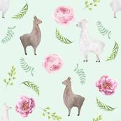 floral llamas watercolor fabric -  watercolor llama fabric, nursery fabric, llama nursery, baby girl nursery fabric - mint