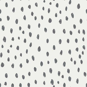 steel dots on snow fabric - sfx4005 - dots, nursery, baby, muted, earthy, earth tones, simple, minimal, gender neutral fabric