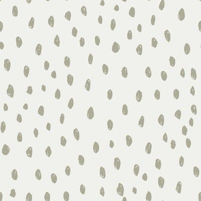 sage dots on snow fabric - sfx0110 - dots, nursery, baby, muted, earthy, earth tones, simple, minimal, gender neutral fabric
