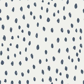 indigo  dots on snow fabric - sfx3928 - dots, nursery, baby, muted, earthy, earth tones, simple, minimal, gender neutral fabric