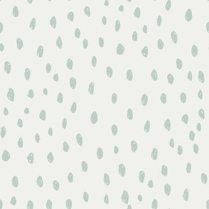 milky green dots on snow fabric - sfx6205 - dots, nursery, baby, muted, earthy, earth tones, simple, minimal, gender neutral fabric