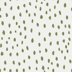 iguana dots on snow fabric - sfx0525 - dots, nursery, baby, muted, earthy, earth tones, simple, minimal, gender neutral fabric