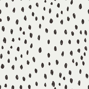 coffee dots on snow fabric - sfx1111 - dots, nursery, baby, muted, earthy, earth tones, simple, minimal, gender neutral fabric