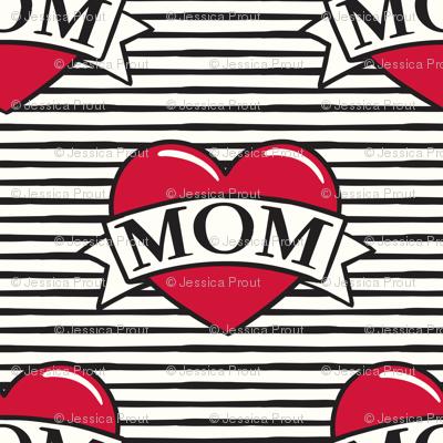 (micro) mom heart tattoo - stripes C19BS